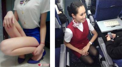 空姐蹲式服务走红 男乘客把持不住