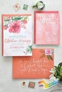 婚礼邀请函上美丽至极的水彩手绘花卉元素