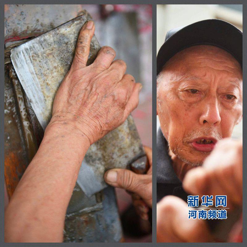 年逾古稀的杨长青老人仍坚持为大家义务磨刀。