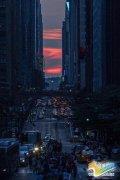 """纽约再现出""""曼哈顿悬日""""美景"""
