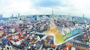 无人机拍下的比利时布鲁塞尔广场。
