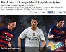 欧足联公布最佳球员候选人 梅西C罗苏神终极PK
