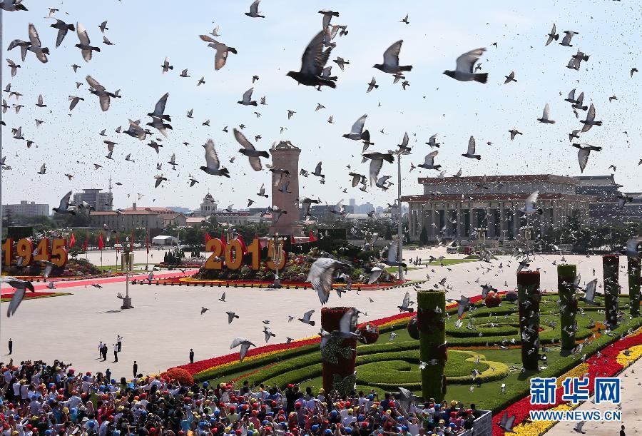 9月3日,中国人民抗日战争暨世界反法西斯战争胜利70周年纪念大会在北京隆重举行。这是7万羽白鸽放飞蓝天。 新华社记者庞兴雷 摄