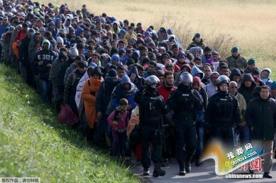 """当地时间10月20日,在斯洛文尼亚与克罗地亚边境城市多波瓦,斯洛文尼亚全副武装的军警""""护送""""从克罗地亚入境的难民。"""