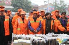 民权爱心家园志愿者:爱心手套温暖环卫工