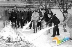 灵宝市涧西区举行消防演练活动