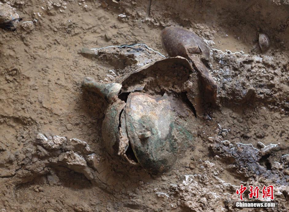 2013年开始发掘的陪葬车马坑为长方形竖穴土坑,坑口长7.55米,宽5.95米,深2.8米。车马坑内随葬车6辆,马13匹,均呈侧躺状,马头上还佩戴骨贝编织的装饰品。车马坑东北角还发现随葬大量牛羊头、蹄等。   抢救性发掘期间,文物部门在徐阳村周围调查勘探发现长方形竖穴土坑墓200余座,车马坑8座,灰坑30余座、烧窑10余座,基本了解了墓地的分布区域和保存现状。