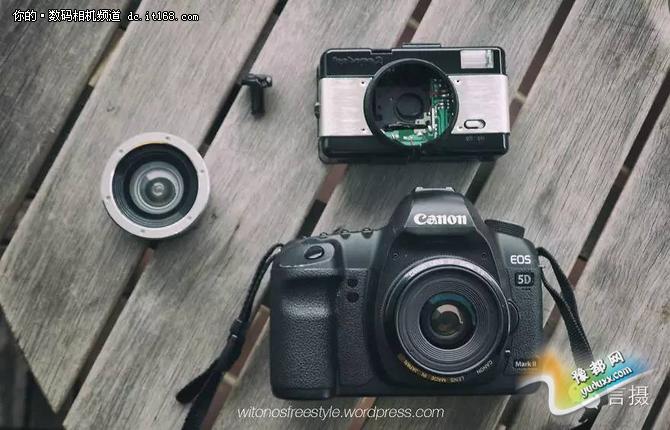 """""""我是鱼眼镜头的忠实粉丝,把LOMO镜头放到单反上的这件事我已经想了很久了,于是我就在eBay上花了20刀淘了一个LOMO相机。""""发明着说。"""