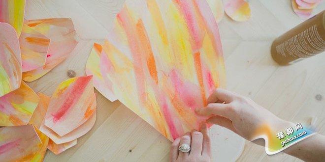 大型纸花的做法图解 DIY婚礼纸花背景墙