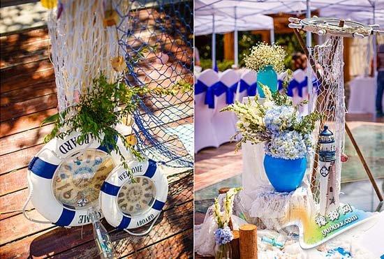 蓝色海洋主题婚礼布置图片 感受大海的美