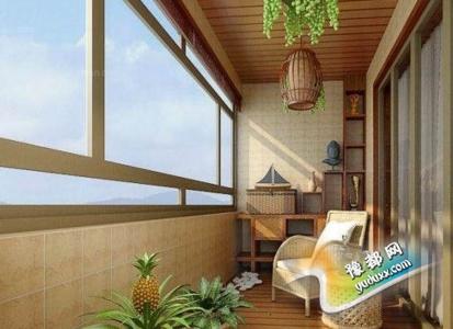 如果阳台空间大,可以在阳台上设置鱼池或者池水