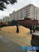 集装箱侧翻小麦倾泄 百余人哄抢近8吨
