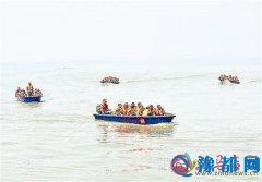 汝南县200多名民兵在宿鸭湖水库进行防汛演练