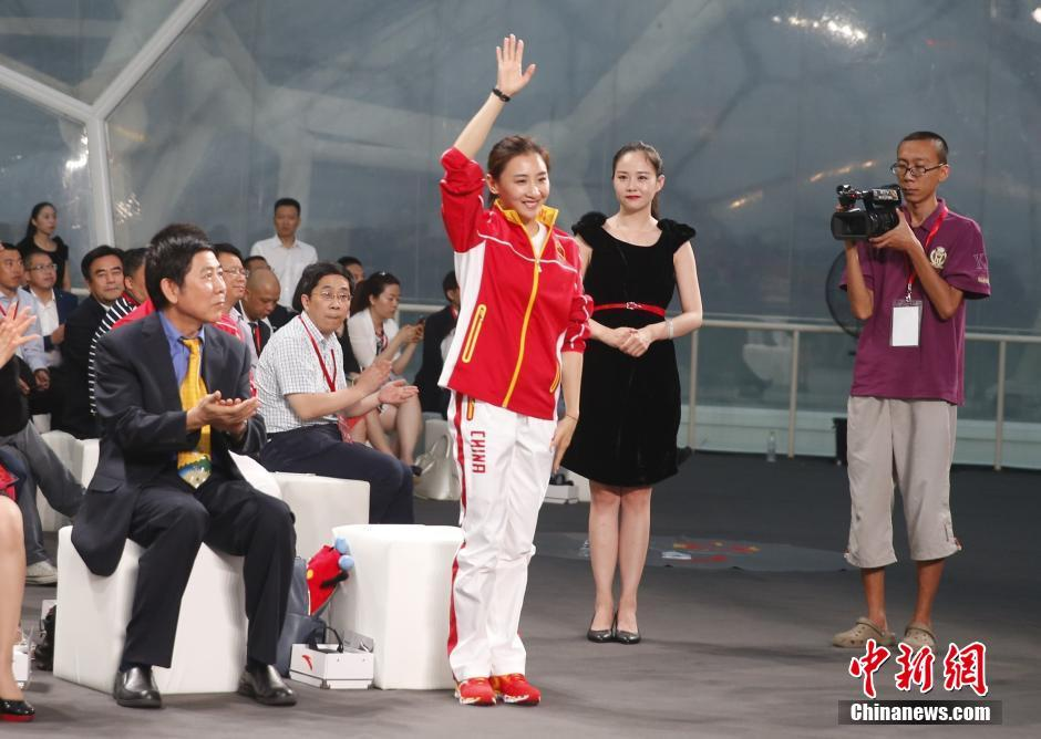 6月29日,中国体育代表团2016里约奥运会装备发布仪式在北京举行,图为何雯娜出席活动。 中新社记者 张浩 摄