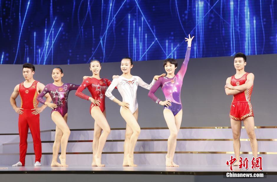 6月29日,中国体育代表团2016里约奥运会装备发布仪式在北京举行,图为模特展示体操运动员服装。 中新社记者 张浩 摄