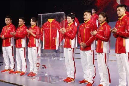 中国代表团发布里约奥运会新装备 奥运冠军助阵