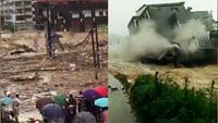实拍福州泥石流席卷而下 台风致次生灾害频发