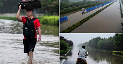 创纪录特大暴雨袭新乡 积水严重多车被淹