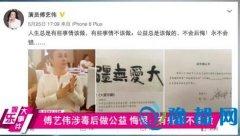 傅艺伟涉毒后做公益 悔恨:有些事不该做