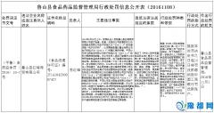 鲁山县食品药品监督管理局行政处罚信息公开表(20161108)