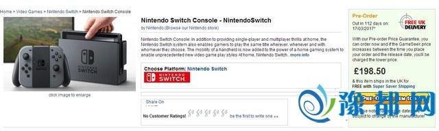 英国零售商开始预订Switch售价199英镑