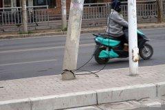 郑州路边两线杆根部断裂 仅用旧线缆简单捆扎