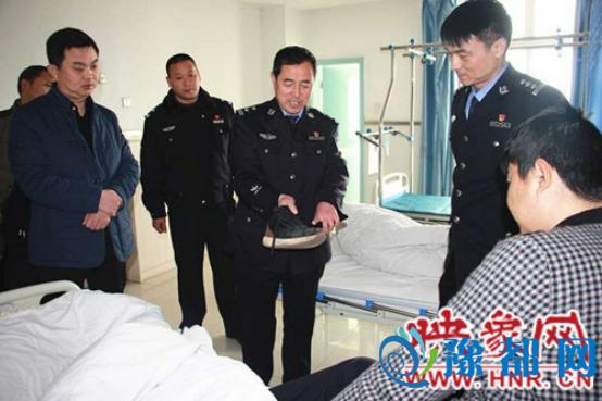看望慰问执勤中受伤的交警一中队协警黄龙江