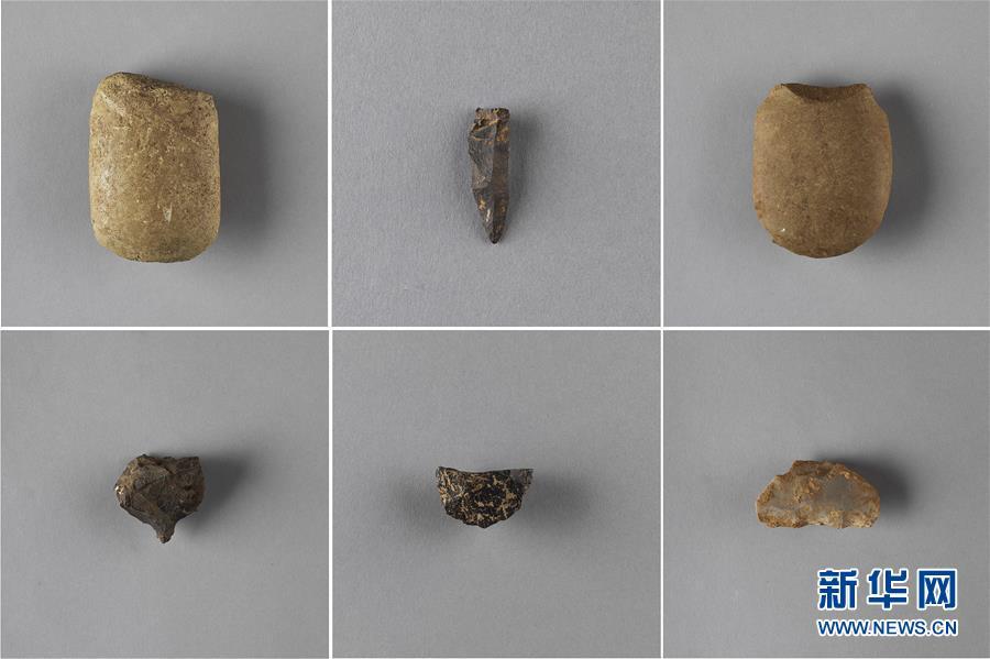这是贵州贵安新区牛坡洞遗址出土的石器(资料照片)。新华社发