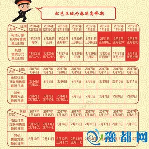 2017年春运购票日历。来自中国铁路总公司
