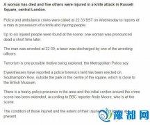 伦敦市中心发生砍人事件:1女性死亡 5人受伤