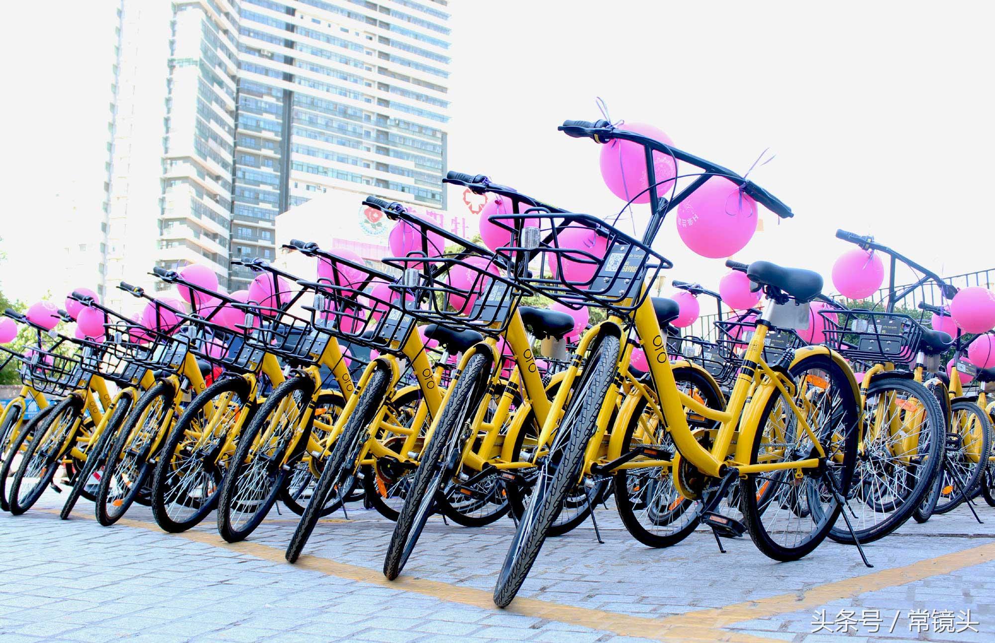 50辆共享单车齐刷刷地停在一起,丝毫不亚于豪车车队。