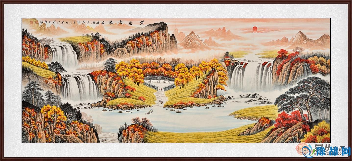 山主丁水主财,经典的聚宝盆山水画风水构图,是居家客厅旺财挂画的首选