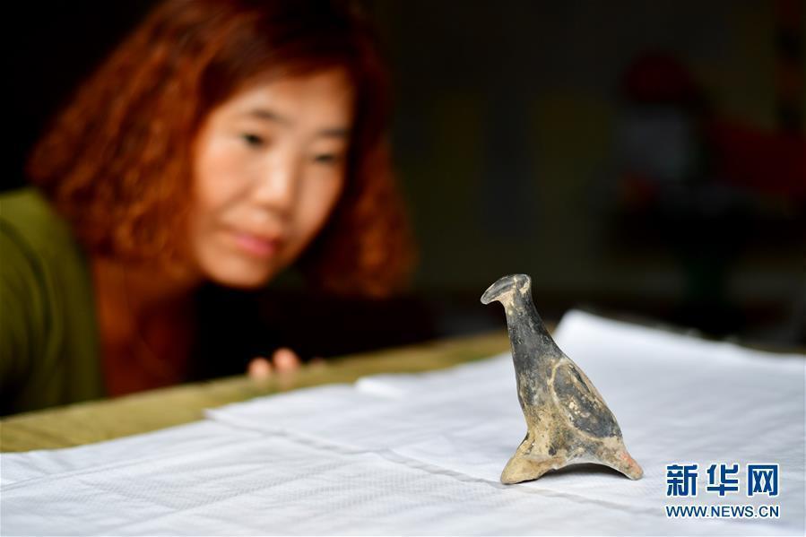 中国社会科学院考古研究所河南新砦队的工作人员在查看出土的彩绘陶鸟。新华社记者 冯大鹏 摄 图片来源:新华网