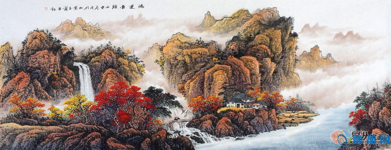 客厅背景墙挂画山水画三,诗情画意,溪山秋韵,风景迷人!