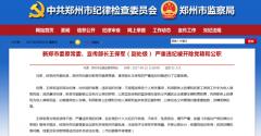 新郑市委原常委、宣传部长王保军严重违纪被双开