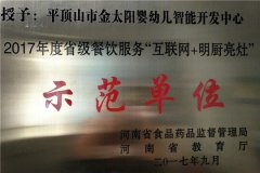 """金太阳幼儿园荣获全省首批""""互联网+明厨亮灶""""示范单位"""