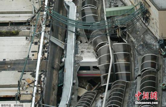 当地时间9月29日上午,美国新泽西霍博肯车站一列通勤火车发生脱轨事故,最新消息显示,事故造成1人死亡,108人受伤。图为事故现场。