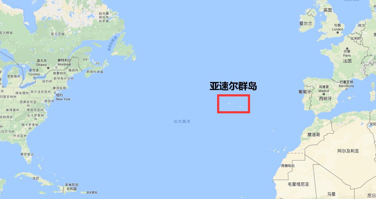 亚速尔群岛地理示意图
