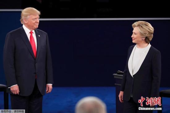 资料图:美国共和党总统候选人特朗普和民主党总统候选人希拉里。