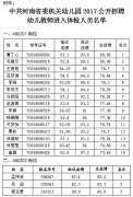 中共河南省委机关幼儿园2017年公开招聘 幼儿教师进入体检人员公告