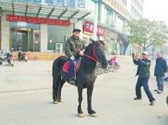 """郑州七旬都市""""牧马人""""养马当宠物 能否上路听交警怎么说"""
