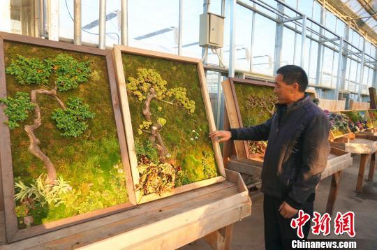 郑州园艺师创作植物壁画可挂墙上