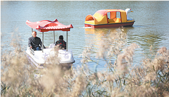 居民荡舟在湖上观赏美景。