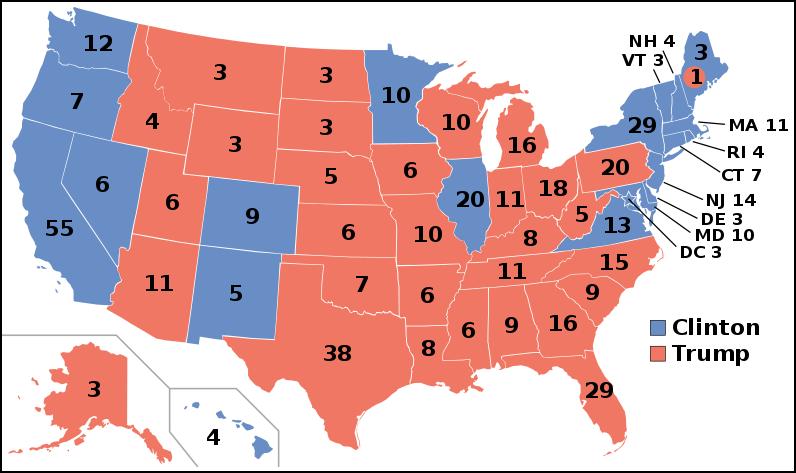 本次大选,希拉里(蓝色)和特朗普(红色)选举人票得票示意图