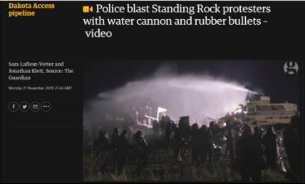 英国《卫报》报道《警方对抗议者使用高压水炮及橡胶子弹》