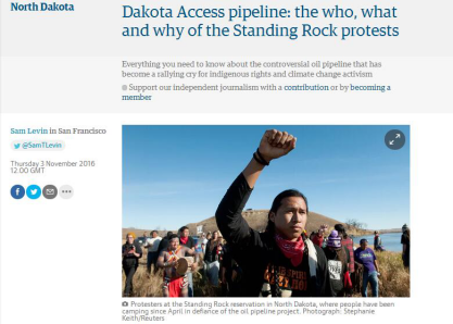图片说明:英国《卫报》报道原住民抗议建设输油管道