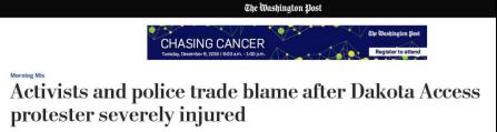 华盛顿邮报:达科他示威活动中出现严重伤者,抗议者与警方相互指责