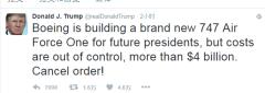 特朗普推特发声:新空军一号太贵 取消订单
