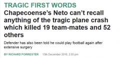 巴西空难幸存球员昏迷中醒来 开口就问夺冠了吗
