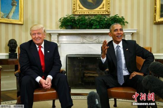 当地时间11月10日,美国总统奥巴马与新当选总统特朗普在白宫进行了长达一个半小时的会面,商讨政权交接等事宜。